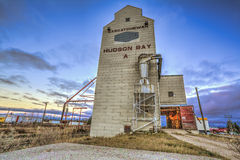 Hudson Bay Grain Elevator. A grain elevator at dusk in Hudson Bay, Saskatchewan Stock Photos