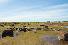 Hudson Bay Low Tide Stone Desert and hut Stock Photography