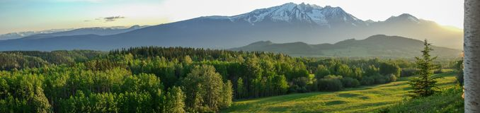 Hudson Bay Mountain - Northern BC Canada. A panoramic view of Hudson Bay Mountain from a eastern view point looking west royalty free stock photo