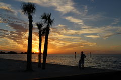 Hudson Beach sunset. Colourful sunset at the beach front of Hudson, Florida in 2013 Royalty Free Stock Photos