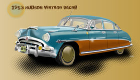 1953 Hudson Car with 4 doors and basic background with text. 1953 Vintage Hudson Racer with a title and background color Royalty Free Stock Photo