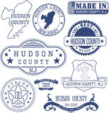 Hudson county, NJ, generic stamps and signs Royalty Free Stock Photo