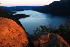 Hudson Highlands Last Light. Breakneck Ridge offers a spelndid view of the Hudson Highlands Last Light royalty free stock photography