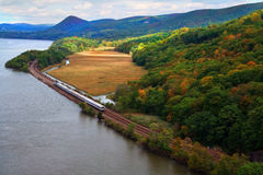 Hudson Line. Scenic view of commuter rail line along the Hudson RIver Royalty Free Stock Photo