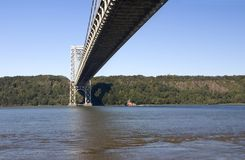 Hudson River. Sunny day on Hudson River under George Washington Bridge Stock Image