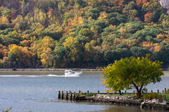 Hudson River. A boat going north on the Hudson River in Cold Spring, NY stock photo
