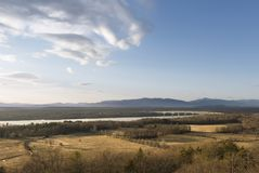 Hudson River and Catskill Mountain Landscape. A wide panoramic view of the Hudson Valley and the Catskill Mountains in the distance from Rhinebeck, NY stock photography