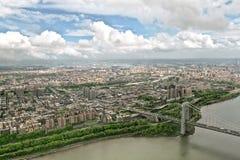 Hudson River de um helicóptero, New York, EUA. Imagens de Stock Royalty Free
