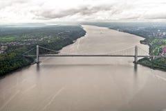 Hudson River de un helicóptero, Nueva York, los E.E.U.U. Fotografía de archivo