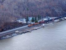 Hudson River Freight Train Stock Photos