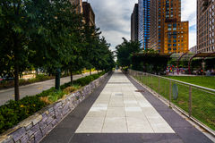 The Hudson River Greenway, in Lower Manhattan, New York. Stock Photography