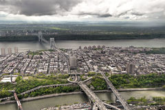 Hudson River from a helicopter, New York, USA. Royalty Free Stock Images