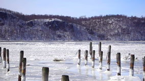 Hudson River ice flow in winter stock video footage