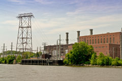 Hudson River Industries. Along the might Hudson River many varied  industries make their home.One of those businesses is this electric plant with its many parts Royalty Free Stock Images