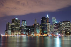 Hudson River New York City night view Stock Photography