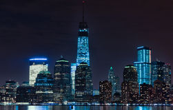 Hudson River and Night Cityscape of New York. Manhattan Royalty Free Stock Photography