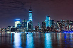 Hudson River and Night Cityscape of New York. Manhattan Stock Image