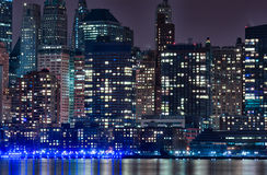 Hudson River and Night Cityscape of New York. Manhattan Royalty Free Stock Photo