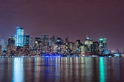 Hudson River and Night Cityscape of New York. Manhattan Stock Photos