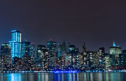 Hudson River and Night Cityscape of New York. Manhattan Stock Photo