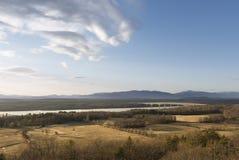 Hudson River och för Catskill berg landskap arkivbild