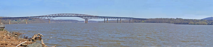 Hudson River Panorama. Panoramic view of the Newburgh-Beacon Bridge over the Hudson River in New York stock photos