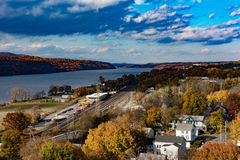 Hudson River - Poughkeepsie NY. View of Poughkeepsie NY in autumn with Hudson River in the background Royalty Free Stock Photos