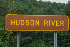 Hudson River Sign. Brown and Yellow sign for the Hudson River in New York State Royalty Free Stock Photos