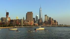 Hudson River Skyline Downtown New York stad arkivfilmer