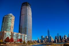 Hudson River Waterfront Walkway em Jersey City, Estados Unidos Foto de Stock Royalty Free