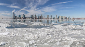 Hudson River In Winter. View from Manhattan (New York City) to Jersey City across the Hudson river in winter. February 2015 Royalty Free Stock Photos