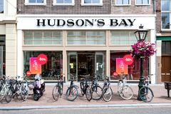 Hudson`s Bay store in Leiden, Netherlands. The Hudson`s Bay Company is a Canadian retail business group royalty free stock photography