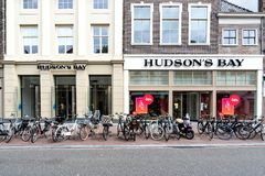 Hudson`s Bay store in Leiden, Netherlands. The Hudson`s Bay Company is a Canadian retail business group stock images