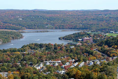 Hudson Valley. View of the Hudson River and a portion of West Point Military Academy Stock Photo