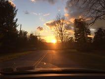 Hudson Valley, bewolkte de zonsondergang van New York Stock Foto's