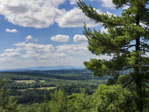 Hudson Valley View with Catskill Mountains. A long view across the Hudson Valley in Dutchess County, New York - with the Catskill Mountains in the distance stock image