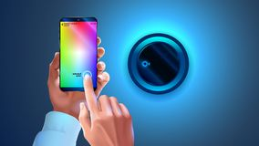 Hue app on phone used to control smart lamp in smart home system. Hands holding smartphone, changing color light wall lapm. Wi-fi. Remote bulb light. Smart vector illustration