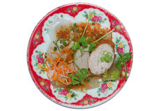 Hue Cakes - Vietnamese Cuisine. Top view isolated plate on white background Stock Photo