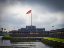 Hue Citadel in Vietnam. In a cloudy day royalty free stock image