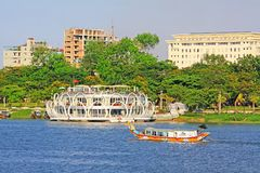 Hue Perfume River Riverbank And Tourist Boat, Vietnam. The Perfume River is a river that crosses the city of Hue Royalty Free Stock Image