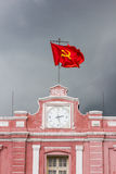HUE RAILWAY STATION. Historical Railway Station with communist flag in Hue, Vietnam stock image