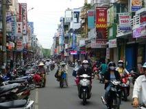 Hue street, Vietnam. Motorbike  in comercial street  Phan dang luu  ,Hue  Vietnam Royalty Free Stock Photo