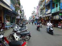 Hue street, Vietnam. Motorbike  in comercial street  Phan dang luu  ,Hue  Vietnam Stock Image