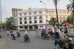 Hue street view in Vietnam. Street view in Hue, Vietnam. Hue is city of Vietnam. The city is located in central Vietnam on the banks of the Perfume River, just a royalty free stock photo