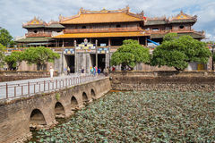 HUE, VIETNAM - CIRCA AUGUST 2015: Entrance  to Imperial Royal Palace of Nguyen dynasty in  Hue Stock Images