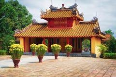 Pagoda at Ming Mang tomb in Hue Vietnam. Hue, Vietnam - February 19, 2016: Pagoda at Ming Mang tomb in Hue, Vietnam stock photo