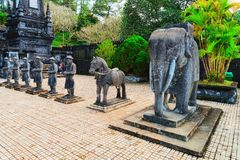 Statues at Khai Dinh Tomb in Hue Vietnam. Hue, Vietnam - February 19, 2016: Statues at Khai Dinh Tomb in Hue, Vietnam royalty free stock photo