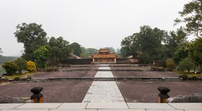 Hue, Vietnam. Hien Duc Mon entrance gates. Hien Duc Mon entrance gates leads to the large court intended for the imperial ceremonies with in the center of Royalty Free Stock Image