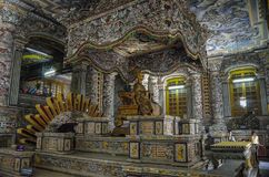 Interior of imperial Khai Dinh Tomb in Hue, Vietnam Royalty Free Stock Photo
