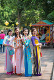 Hue, Vietnam Mar 15:: Vietnamese girls in national dress at The Stock Image